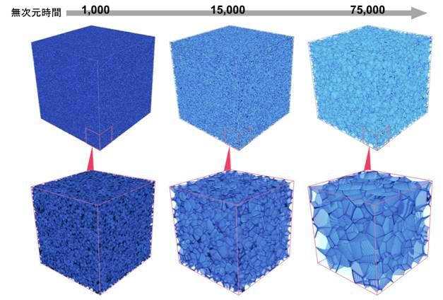 大規模理想粒成長シミュレーションのスナップショット。界面で区切られた多数のセル(結晶粒)の競合成長が再現されている。赤枠内は領域の一部の拡大図を示す。