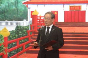 古山学長のスピーチの様子