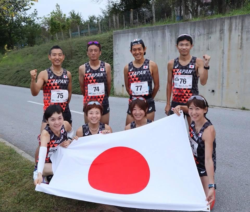 2018年クロアチア100km世界選手権、日本代表男女8名スタート前